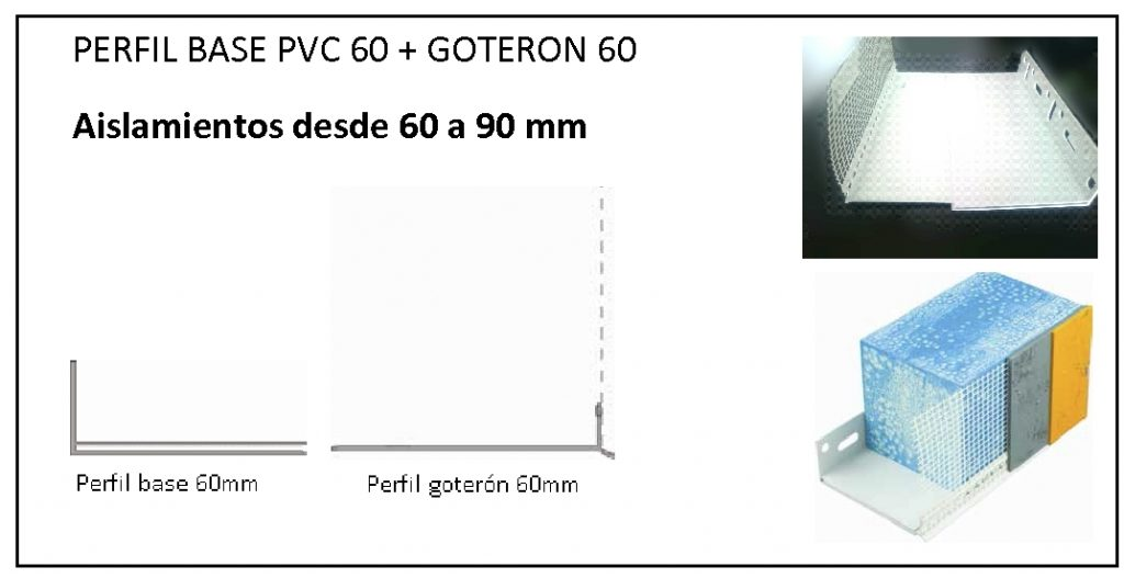 Combinación de 2 perfiles para aislamientos de 40 a 60 mm