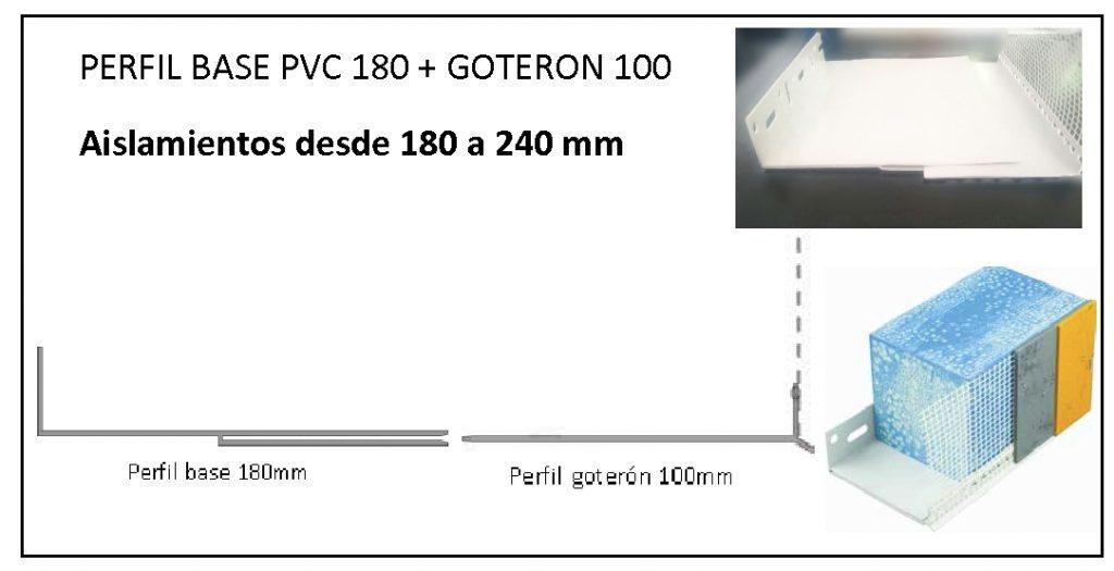 Perfil arranque 180mm + Perfil goterón 100mm